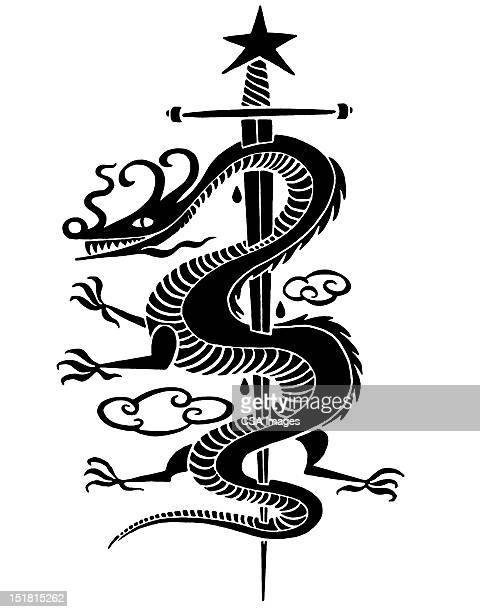asian dragon impaled on sword - murderer stock illustrations, clip art, cartoons, & icons