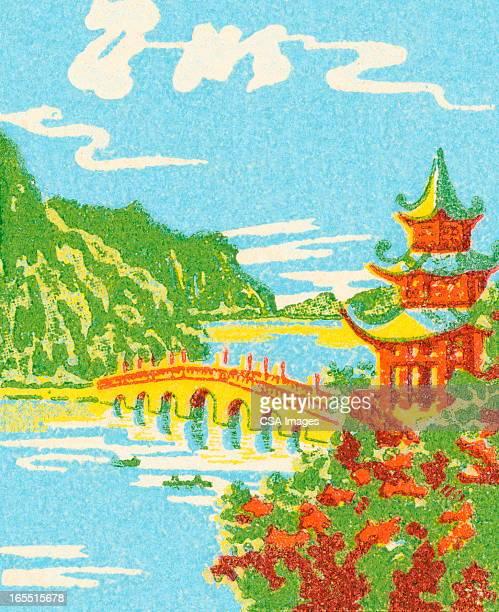 asian landscape - pagoda stock illustrations, clip art, cartoons, & icons