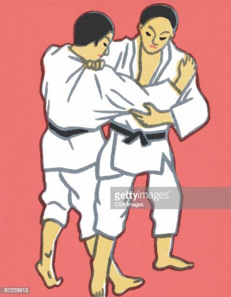 ilustrações de stock, clip art, desenhos animados e ícones de asian man - judo