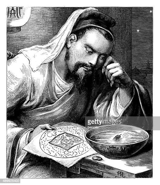 Asian Man Using Mariners Compass
