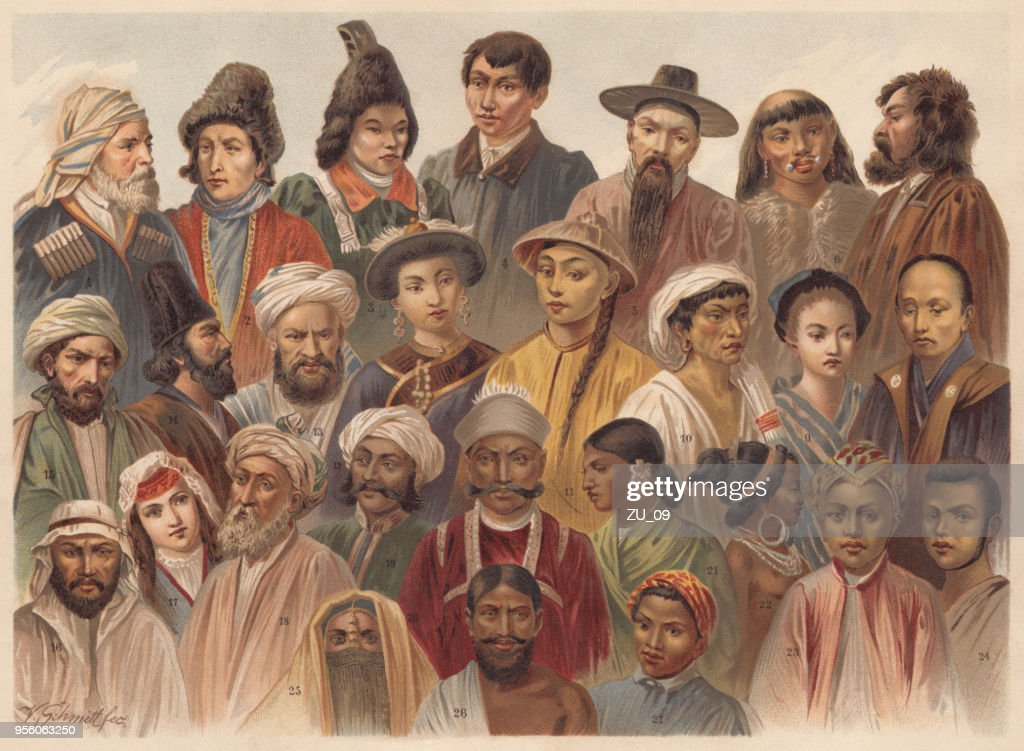 Asian Native People, lithograph, published in 1893 : stock illustration