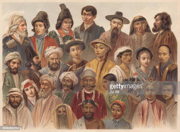 asian native people, lithograph, published in 1893 - iranian culture stock illustrations, clip art, cartoons, & icons