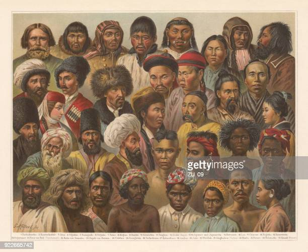asian native people, lithograph, published in 1897 - iranian culture stock illustrations, clip art, cartoons, & icons
