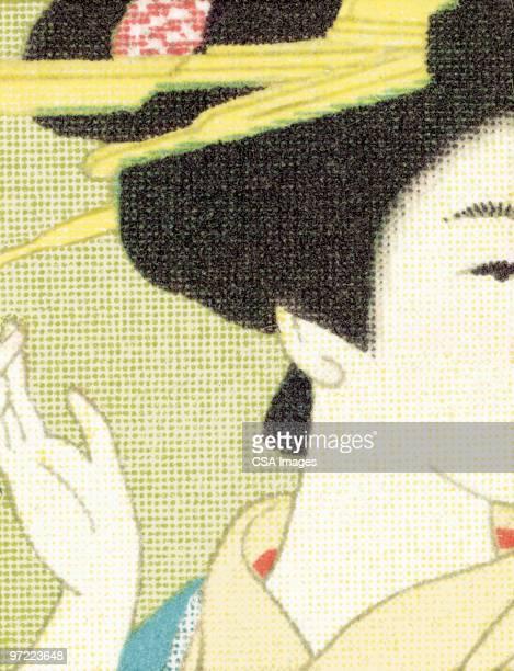 asian up do - geisha stock illustrations, clip art, cartoons, & icons