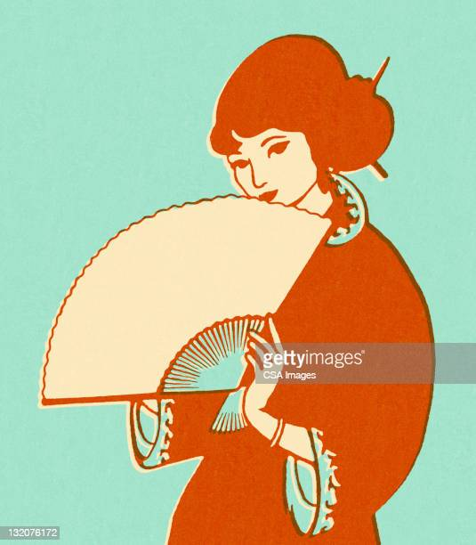 asian woman holding fan - one mid adult woman only stock illustrations