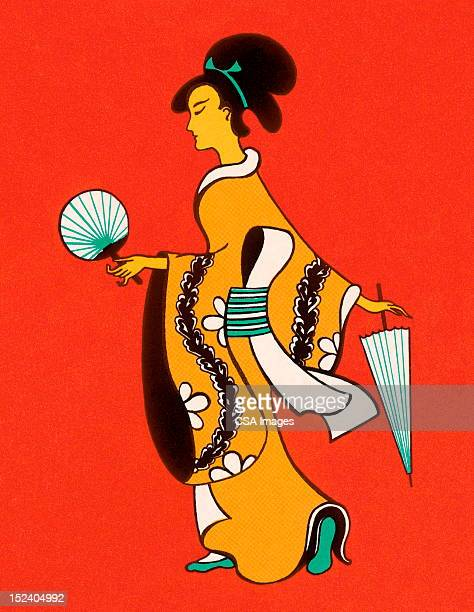 asian woman holding fan - only japanese stock illustrations, clip art, cartoons, & icons