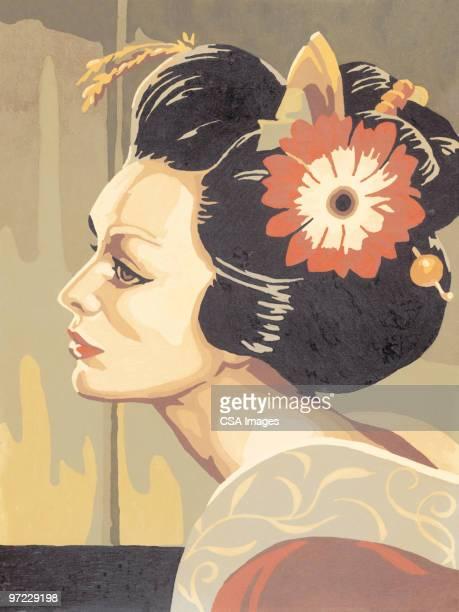 asian woman - geisha stock illustrations, clip art, cartoons, & icons
