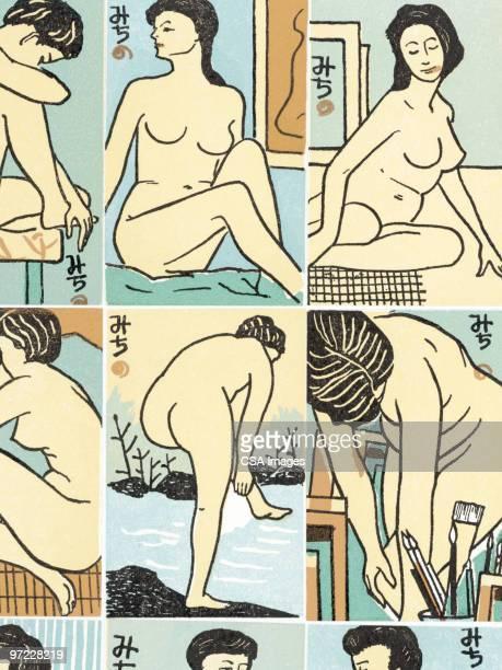 asian woman pattern - potion stock illustrations