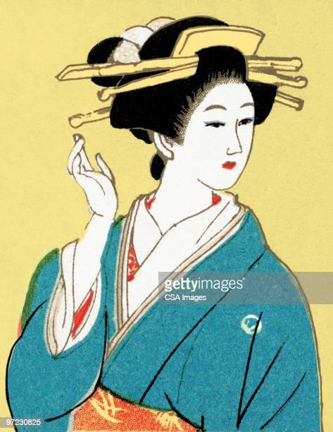 asian women - geisha stock illustrations, clip art, cartoons, & icons