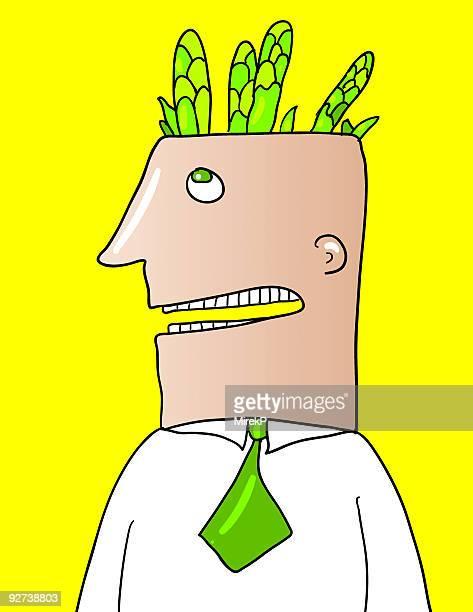 asparagus man - asparagus stock illustrations, clip art, cartoons, & icons
