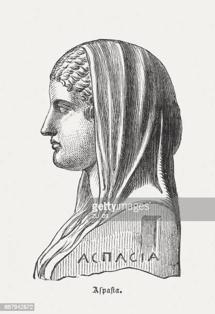ilustraciones, imágenes clip art, dibujos animados e iconos de stock de aspasia (c.470-c.420 bc), filósofo griego, grabado en madera, publicado en 1880 - filosofos griegos