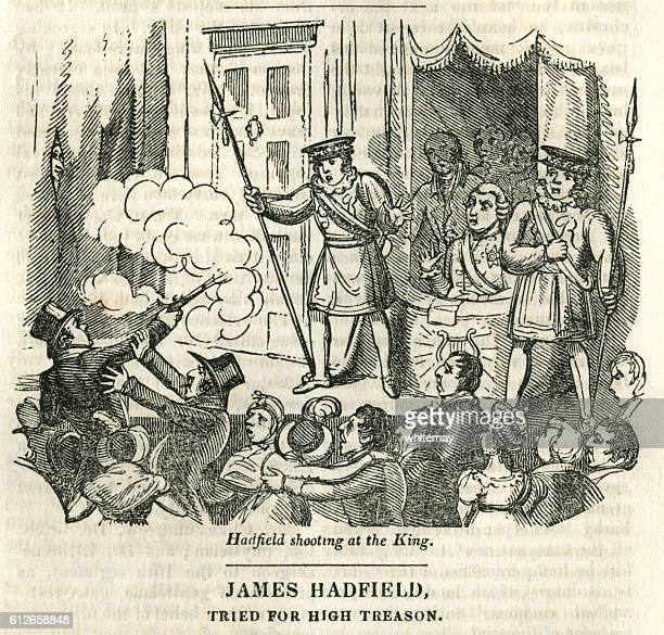 assassination attempt on king george iii - infamous stock illustrations, clip art, cartoons, & icons