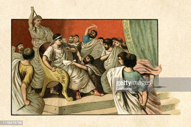 ermordung von kaiser julius cäsar im römischen senat 44 v. chr. - senat stock-grafiken, -clipart, -cartoons und -symbole