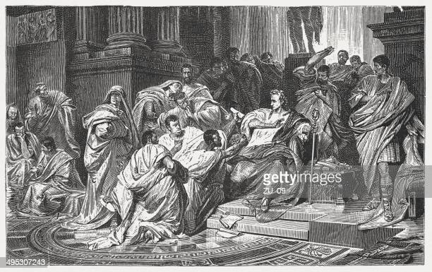 Assassination of Julius Caesar's, wood engraving, after Karl von Piloty
