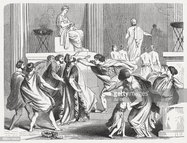 assassination of philip ii of macedon (382-336 bc), published 1880 - ancient greece stock illustrations, clip art, cartoons, & icons