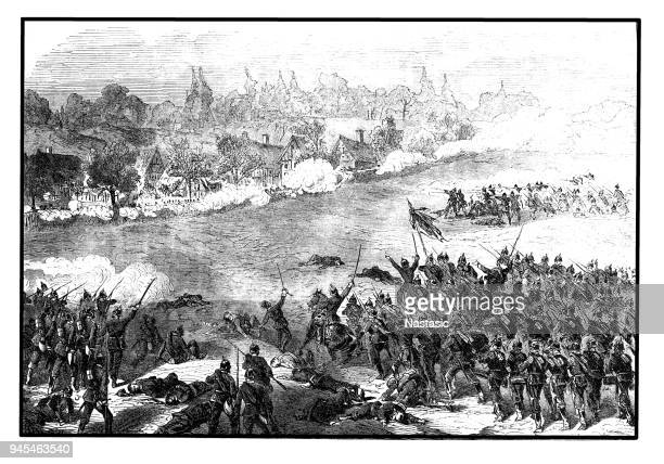 assault on the village of sainte-marie-aux-chenes by the avant-garde of the 1st prussian guard division on 18 august, franco-german war 1870/71 - lorraine stock illustrations, clip art, cartoons, & icons