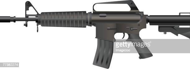 xm-177 assault rifle - machine gun stock illustrations, clip art, cartoons, & icons