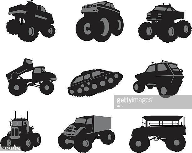 ilustraciones, imágenes clip art, dibujos animados e iconos de stock de surtido de vehículos grandes - monstertruck