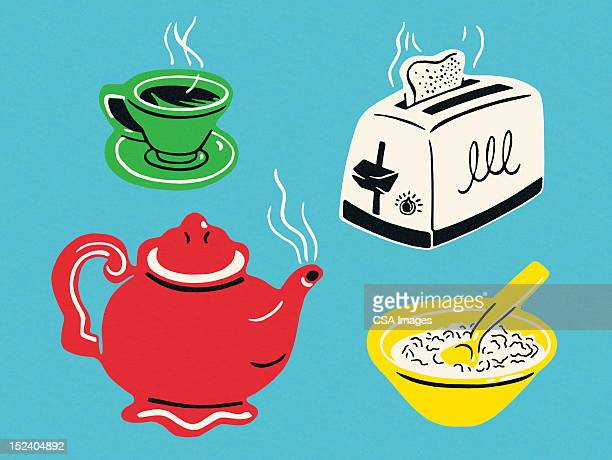assorted breakfast items - breakfast cereal stock illustrations, clip art, cartoons, & icons