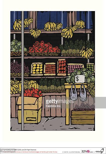 ilustraciones, imágenes clip art, dibujos animados e iconos de stock de assorted fruits at a market stall - puesto de mercado