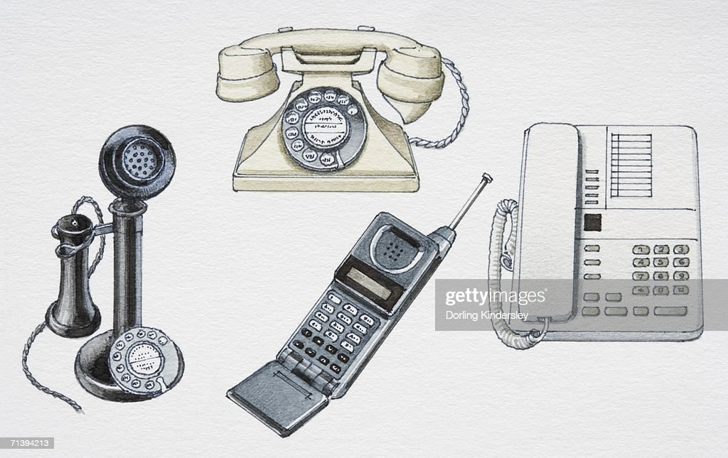 assorted telephones from various stages in history front view