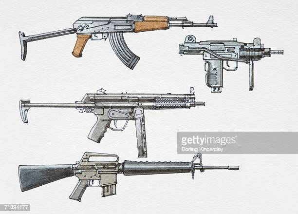 ilustraciones, imágenes clip art, dibujos animados e iconos de stock de assortment of post-1940 submachine guns, side view. - submachine gun