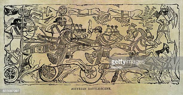 assyrian battle scene - animals charging stock illustrations, clip art, cartoons, & icons