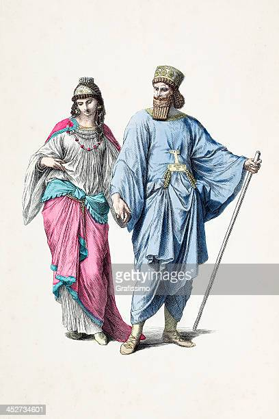 Assyrian couple with traditional costumes from B.C.