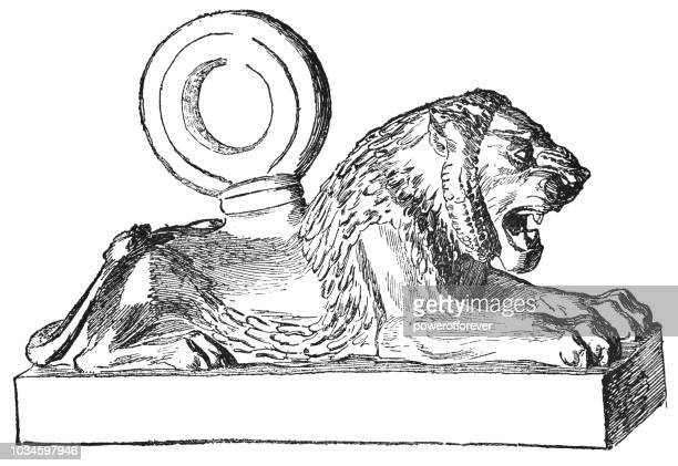 assyrian lion weight from the palace of khorsabad (8th century bc) - 8th century bc stock illustrations, clip art, cartoons, & icons