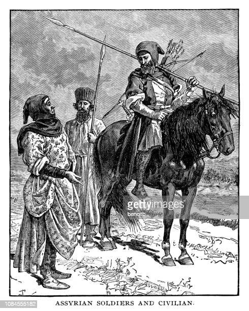 Assyrian soldiers and civilian