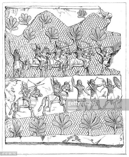 assyrian warriors (c.700 bc), ancient relief - 8th century bc stock illustrations, clip art, cartoons, & icons