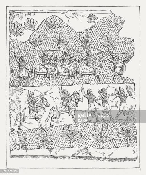 assyrian warriors (c.700 bc), ancient relief, wood engraving, published 1880 - 8th century bc stock illustrations, clip art, cartoons, & icons