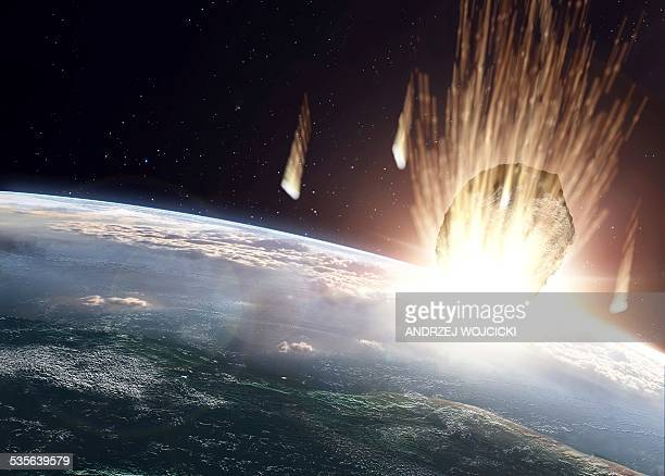 asteroid above earth, artwork - asteroid stock illustrations