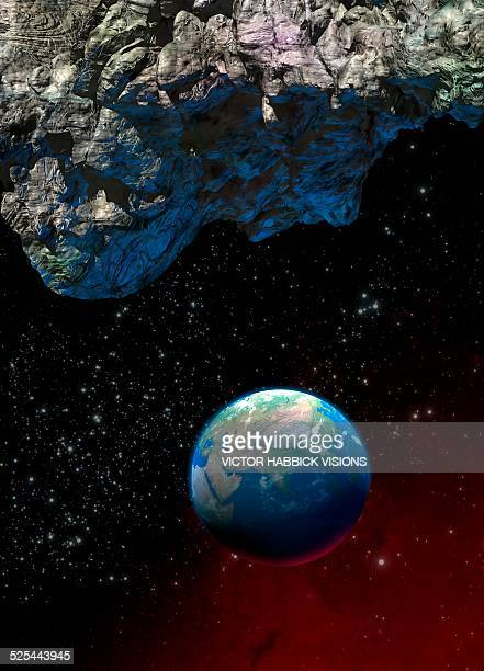 asteroid and planet earth - victor habbick stock illustrations