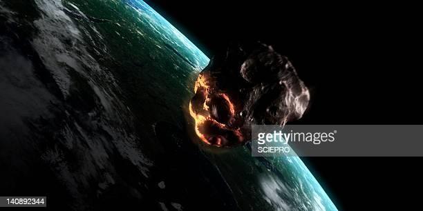 illustrazioni stock, clip art, cartoni animati e icone di tendenza di asteroid approaching earth, artwork - meteorite