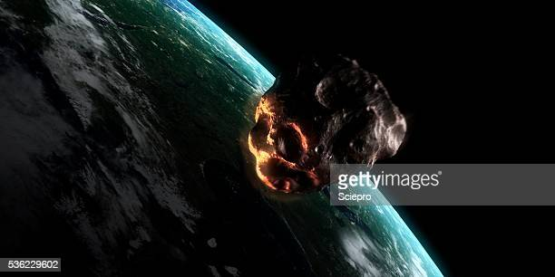 illustrazioni stock, clip art, cartoni animati e icone di tendenza di asteroid approaching earth, artwork - asteroide
