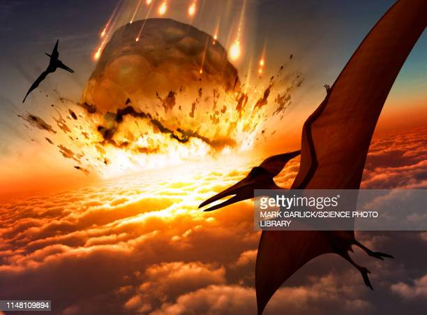 Asteroid approaching Earth's surface, illustration