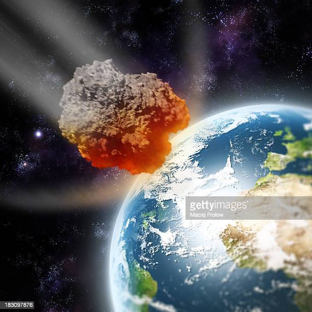 illustrazioni stock, clip art, cartoni animati e icone di tendenza di asteroid approching planet earth - meteorite