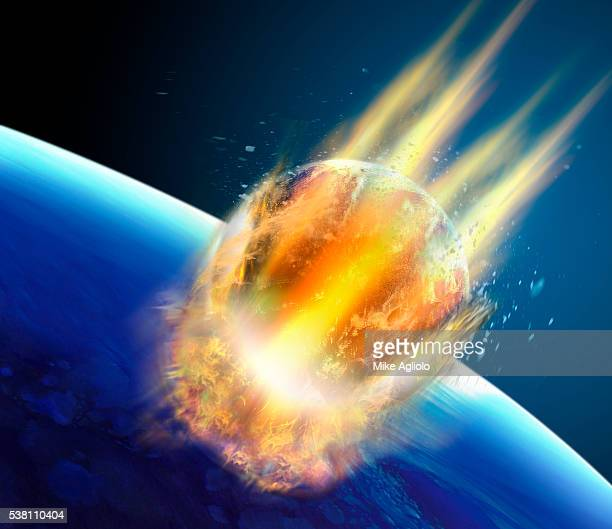 asteroid colliding into earth - meteor stock illustrations