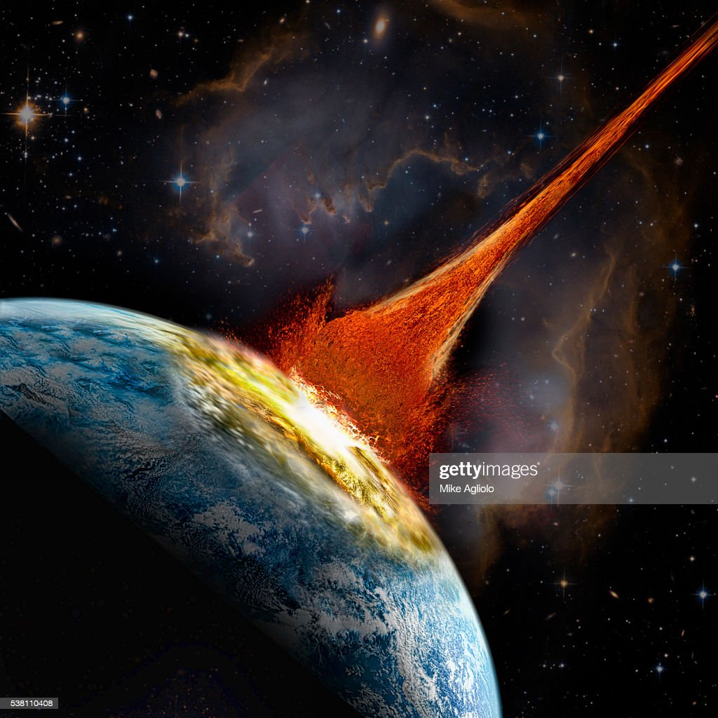 Asteroid colliding into Earth : stock illustration