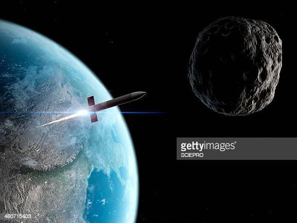 asteroid defence missile, artwork - missile stock illustrations