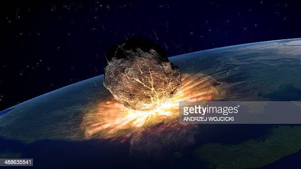 asteroid hitting earth, artwork - artistic product stock illustrations