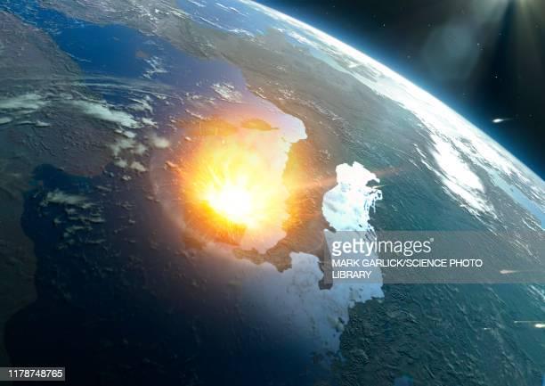 illustrazioni stock, clip art, cartoni animati e icone di tendenza di asteroid impacting modern earth, illustration - asteroide