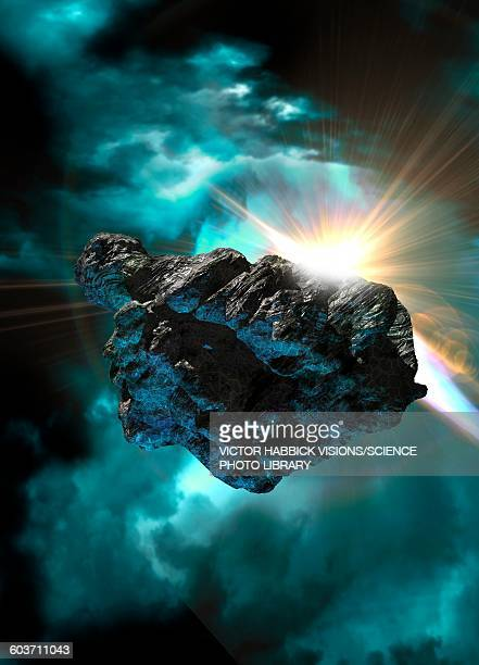 Asteroid in outer space, illustration