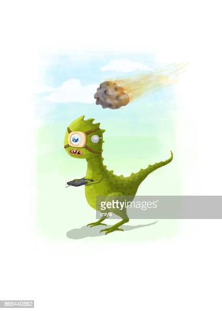 Asteroid strike dinosaur cartoon - Illustration