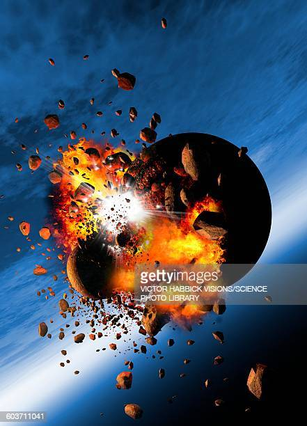 Asteroids colliding with a planet