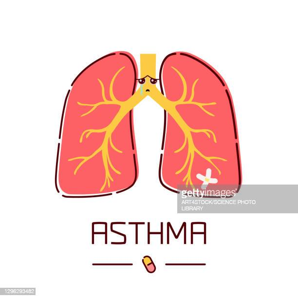asthma, conceptual illustration - computer icon stock illustrations