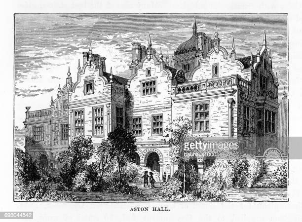 Aston, Aston Hall, Birmingham, Midlands, England Victorian Engraving, 1840