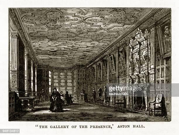 Aston, Aston Hall, The Gallery of the Presence, Birmingham, Midlands, England Victorian Engraving, 1840