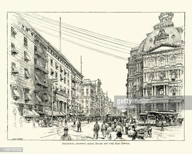 astor house, broadway, manhattan, new york city 19th century - broadway manhattan stock illustrations